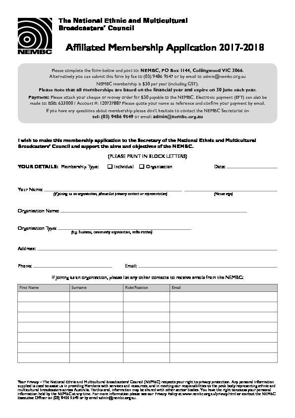 Nembc nembc affiliated membership application form 2017 2018 m4hsunfo